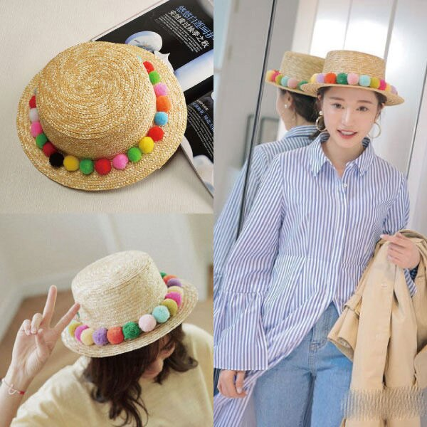 PS Mall 防曬遮陽海邊沙灘彩色毛球草帽子 ~G2151~ ~  好康折扣