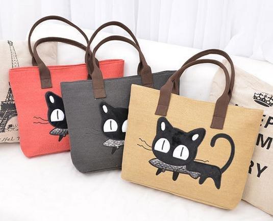 【日系貓吃魚側背包】 後背包 側背包 書包 旅行包   時尚玩包