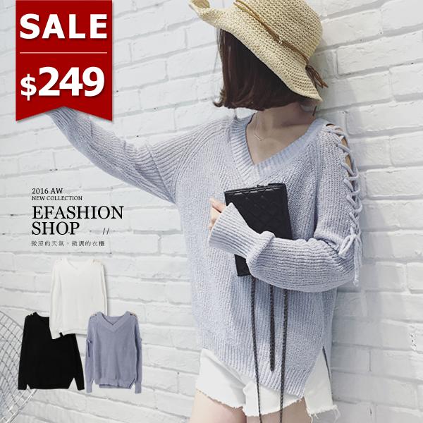毛衣~袖繞帶針織上衣~eFashion 預~E10619370~ ~  好康折扣