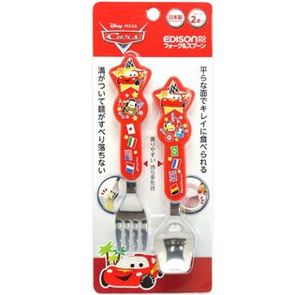 EDISON 日本進口迪士尼幼兒學習湯叉組 / 不鏽鋼叉匙組 - 閃電麥坤 PIXAR  兒童餐具