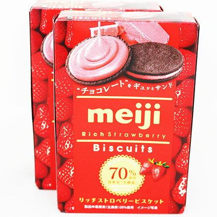 【敵富朗超巿】明治草莓夾心巧克力餅
