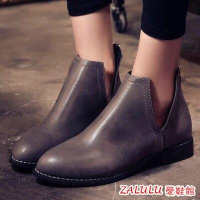 ☼zalulu愛鞋館☼ HE172  尖頭側邊V口超美腿低跟裸靴~偏小~黑 酒紅 灰~36