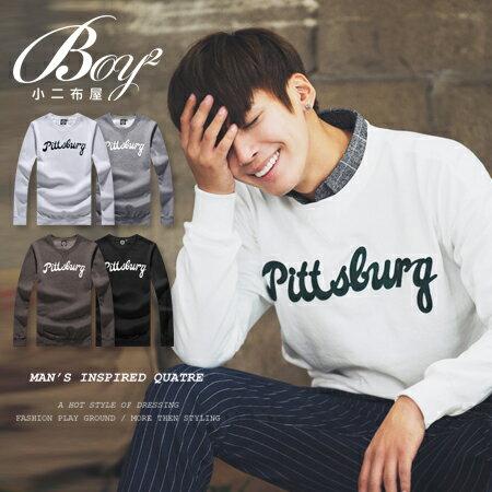 ☆BOY-2☆ 【KK6850】簡約撞色字母刷毛長袖T恤 0