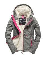 Superdry極度乾燥商品推薦[女款]Outlet英國代購極度乾燥 Superdry Windtrekker 女款 羊羔毛 刷毛 風衣連帽防風防水外套 淺麻灰