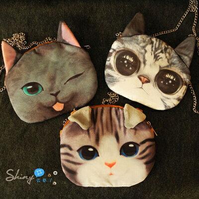 【P008】shiny藍格子-可愛貓咪.新款貓咪圖案喵星人鏈條包單肩斜跨包