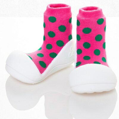 【本月特價$599】韓國【Attipas】快樂腳襪型學步鞋-圓點粉紅 0