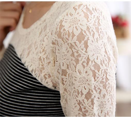 促銷專區免運 -  洋裝 - 細條紋拼接雕花蕾絲袖縮腰短洋裝《3色》藍色巴黎 【22273】 現貨商品 3