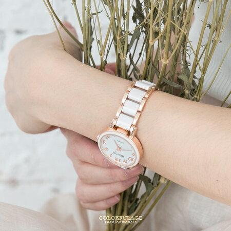 手錶 熱銷玫瑰金簡約配色氣質女孩專屬腕錶 典雅乾淨 仿陶瓷錶帶 柒彩年代【NE1542】贈禮盒 0