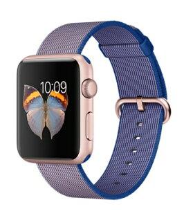 【鐵樂瘋3C 】(展翔) Apple watch ●38/ 42 玫瑰金色鋁金屬錶殼搭配寶藍色尼龍織紋錶帶