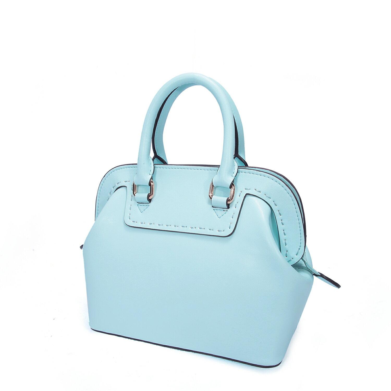 【BEIBAOBAO】繽紛馬卡龍真皮手提側背包(粉霧藍 共六色) 9
