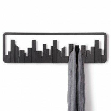PERCHERO DE PARED UMBRA skyline 5 PERCHAS RETRAIBLES - Color - Negro 0