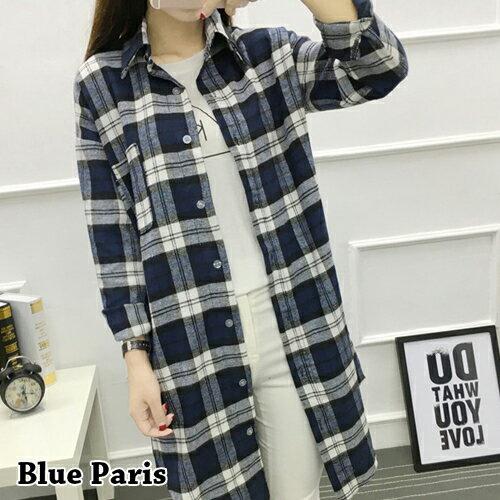 上衣 - 法蘭絨寬鬆長袖長版格子襯衫【29200】藍色巴黎 - 現貨 + 預購 0