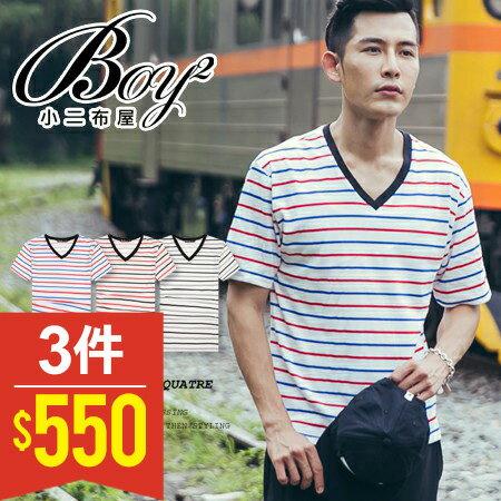 ☆BOY-2☆【PPK82072】簡約休閒條紋V領T恤 0