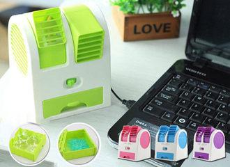 雙風口冷風扇 第二代可攜USB風扇 迷你空調電風扇 可調整兩用雙供電 循環扇 香水電扇