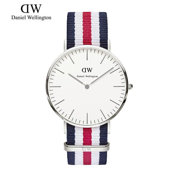 瑞典正品代購 Daniel Wellington 0202DW 銀 尼龍 帆布錶帶 男女錶 手錶腕錶 40MM