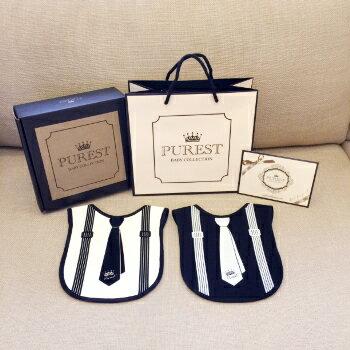 PUREST baby collection【怎樣兜很帥】小紳士圍兜禮盒組 (黑領帶+白領帶) - 限時優惠好康折扣