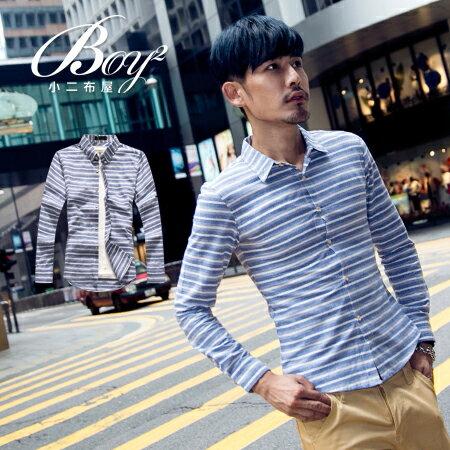 ☆BOY-2☆【NQ97014】韓版紳士條紋長袖襯衫 1