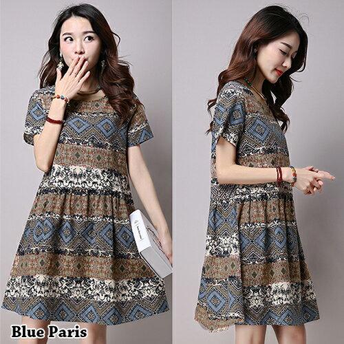 短洋裝 - 民族風印花寬鬆短袖洋裝【29137】藍色巴黎-現貨+預購 0