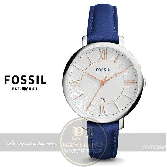 FOSSIL美國品牌Jacqueline經典復古羅馬品味淑女腕錶/藍ES3986公司貨/禮物