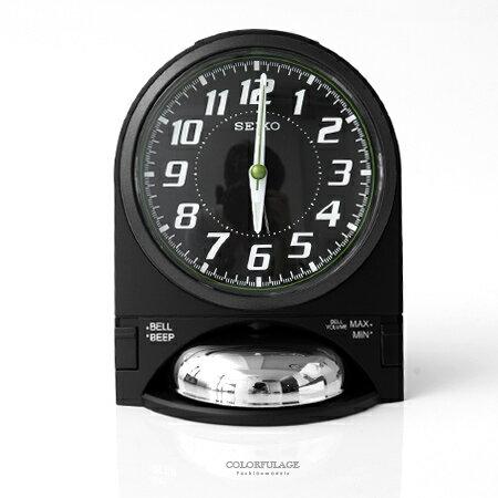 SEIKO精工鬧鐘 時尚設計黑色鈴鐘造型座鐘 滑動式秒針 可調整音量大小 柒彩年代【NV7】原廠公司貨 - 限時優惠好康折扣