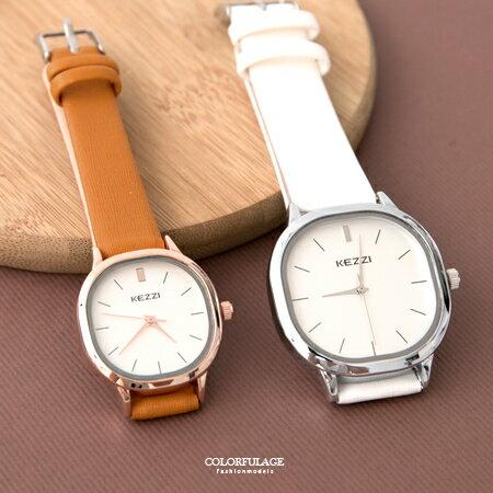 手錶 簡約素雅方形設計刻度皮革腕錶 現代都會時尚款 可搭配成對錶 柒彩年代【NE1858】單支售價 0