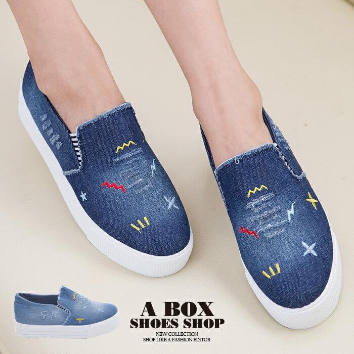 格子舖*【AS133】簡單塗鴉刷色牛仔布破壞設計 V口鬆緊3cm厚底增高帆布鞋 懶人鞋 2色 0
