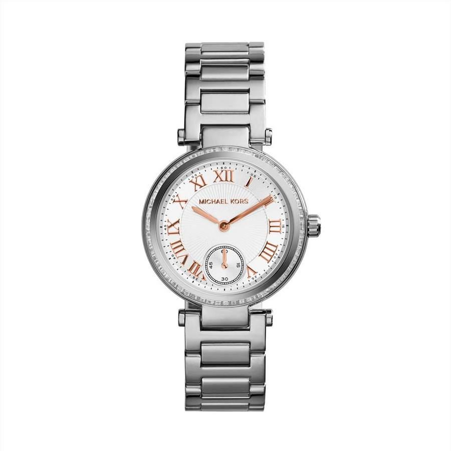 美國Outlet正品代購 MichaelKors MK 復古羅馬鑲鑽銀  陶瓷  三環 手錶 腕錶 MK5970 1