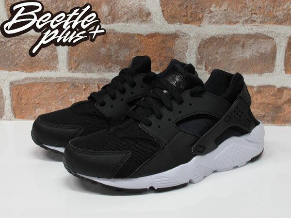 女鞋 BEETLE NIKE HUARACHE RUN GS 黑白 黑武士 復古 運動鞋 慢跑鞋 654275-011 1