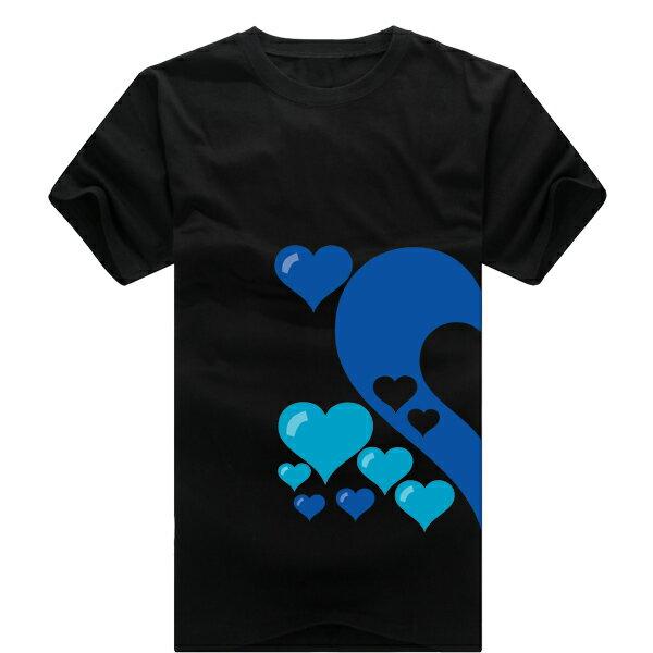 ◆快速出貨◆獨家配對情侶裝.客製化.T恤.最佳情侶裝.獨家款.純棉短T.MIT台灣製.藍色簍空愛心【Y0021】可單買.艾咪E舖 4