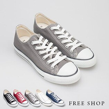 Free Shop【QSH0333】日韓風格百搭基本款低筒綁帶休閒鞋帆布鞋‧六色(T41) MIT台灣製