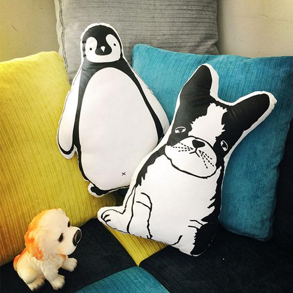 抱枕-韓國小清新鬥牛犬 企鵝 可愛抱枕 靠墊 腰靠 圍檔 汽車靠墊居家布置 【AN SHOP】