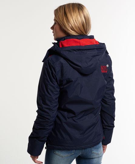 [女款]Outlet英國 極度乾燥 Pop Zip Hooded系列  三層拉鍊 連帽防風衣夾克 海軍藍/叛逆紅 3