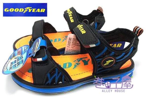 【巷子屋】GOODYEAR固特異 男童專業六大機能緩震氣墊運動涼鞋 [48696] 藍橘 超值價$298
