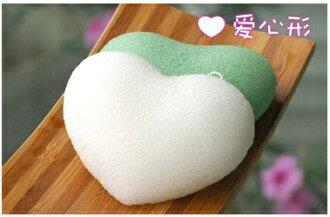 日本原裝進口 Lucky Trendy心型蒟蒻美肌按摩潔面撲 保濕/綠茶/竹炭