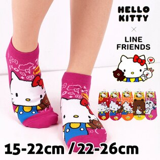 【esoxshop】Hello Kitty x Line Friends 直版襪 台灣製 三麗鷗 Sanrio