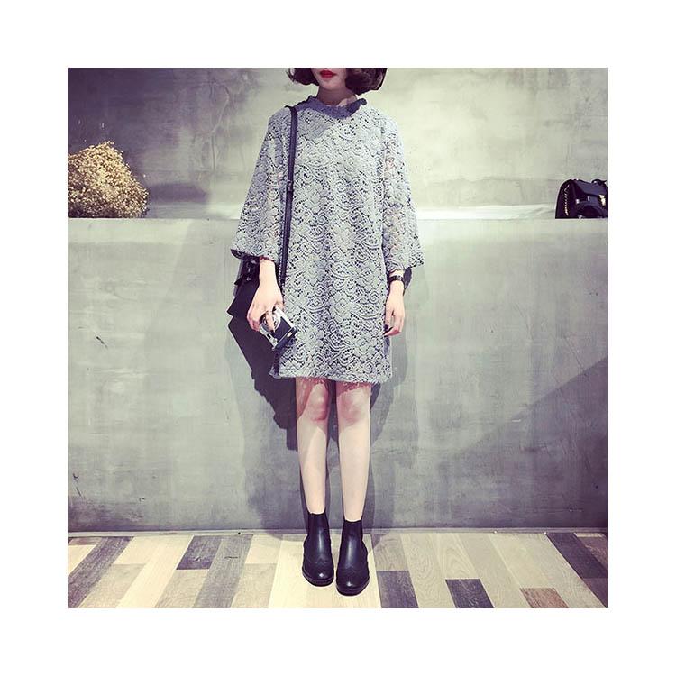 長袖洋裝 蕾絲拼接花邊領七分袖洋裝連身裙【KLT12L】 BOBI  09/08 1