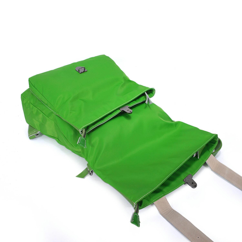 BEIBAOBAO夏季旅行防水布配真皮兩用後揹包(橄欖綠) 7