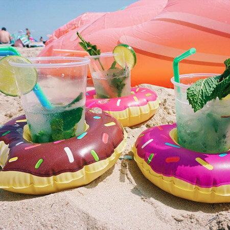 甜甜圈泳圈造型 充氣水上杯墊 飲料座 手機座 漂浮杯座【N202063】