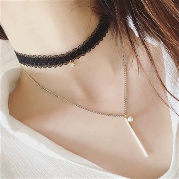 PS Mall 項鍊女 雙層珍珠韓國 日韓蕾絲雙層珍珠杆子頸鏈頸帶項圈 項鍊 頸鍊~G20