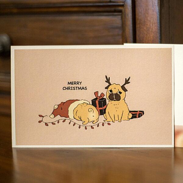 普萊森特|手繪巴哥聖誕明信片
