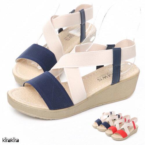 偏小 涼鞋 繽紛雙色交叉楔型厚底涼鞋
