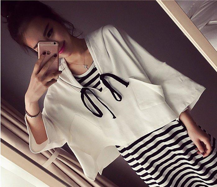 *漂亮小媽咪*可愛有型罩衫外套黑白條紋連衣裙孕婦衣孕婦洋裝孕婦裝 LA621