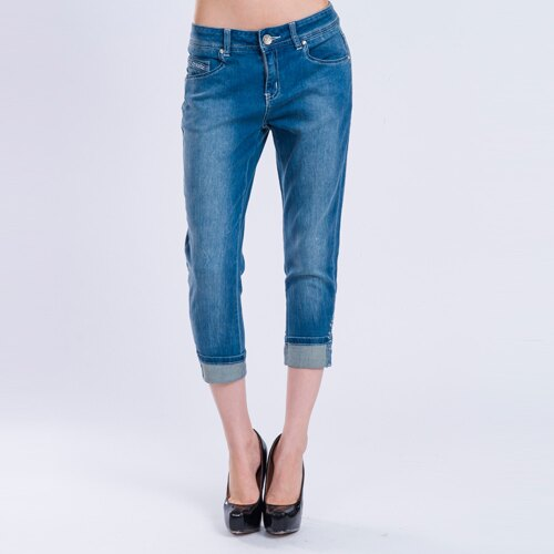 【ET BOîTE 箱子】輕磅反折貼鑽八九分牛仔褲 1