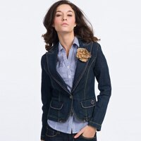 【ET BOîTE 箱子】巴洛克風格 蕾絲西裝式牛仔外套 0