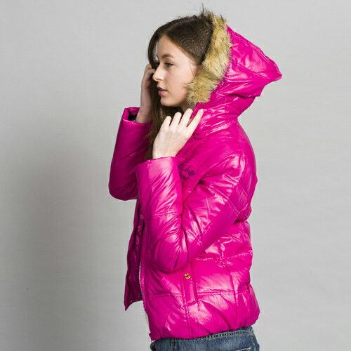 【ET BOiTE 箱子】LOGO字羽毛外套(紫紅 / 黑) 1