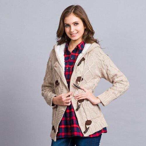【ET BOîTE 箱子】織紋牛角釦鋪棉連帽針織外套 0