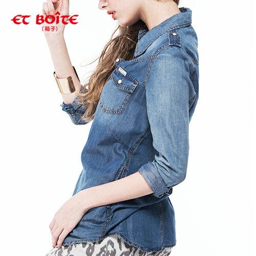 【 ET BOiTE 箱子】半天絲牛仔襯衫 1