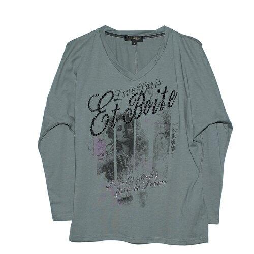 【ET BOiTE 箱子】女人畫像串珠連袖T恤 0