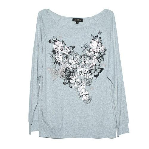 【ET BOîTE 箱子】蝴蝶貼鑽印花長T恤 0