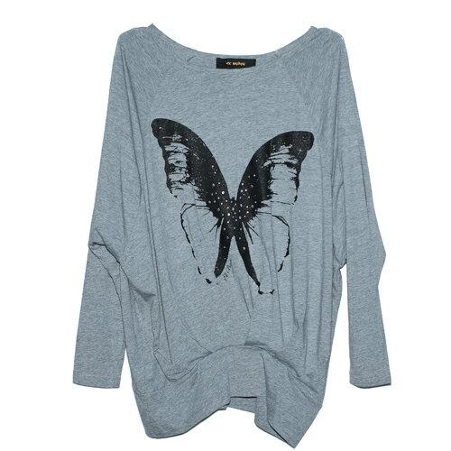 【ET BOîTE 箱子】寬版蝴蝶圖案長袖T恤 0